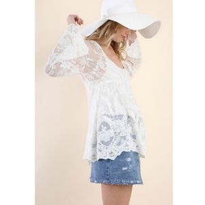 Umgee Tops - Lace Bell Sleeve Tunic